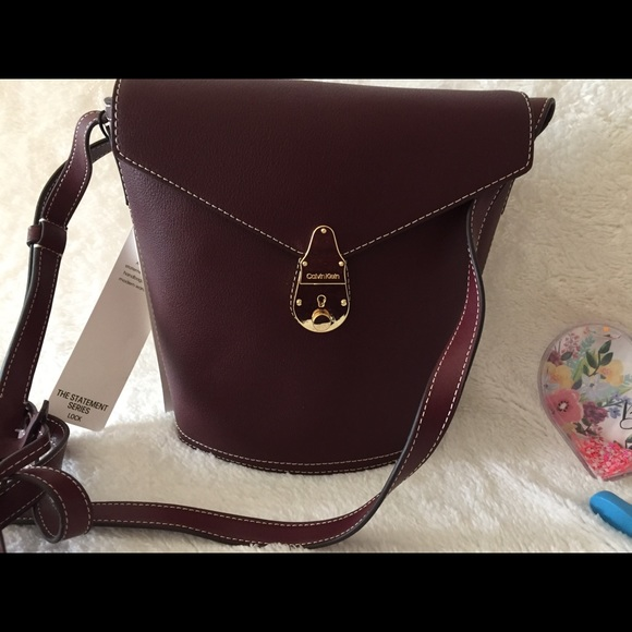 Calvin Klein Large Lock Leather Bucket Bag